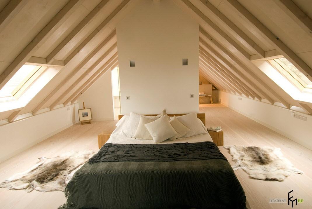 Спальная комната на мансарде дизайн