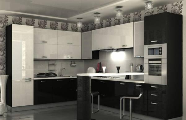 Интерьер кухни в черно-белых цветах фото